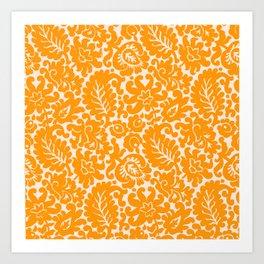 Orange Spice Floral Pattern Art Print