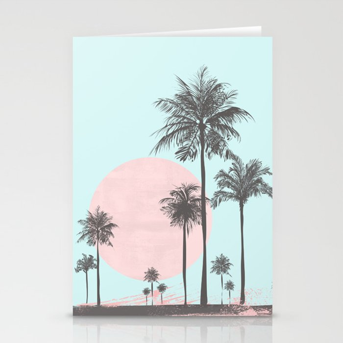 beachfront palm tree soft pastel sunset graphic stationery cards by