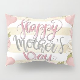 Happy Mothers Day Wreath Pillow Sham