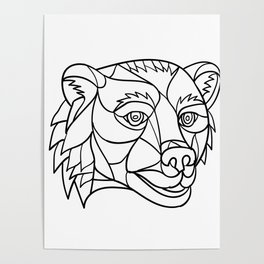 Grizzly Bear Head Mosaic Black and White Poster