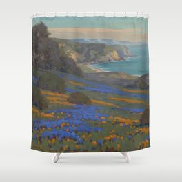 Spring Flowers, Poppies and Lupine, Goleta Point by John Marshall Gamble Shower Curtain