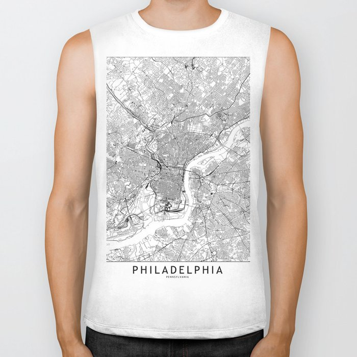 Philadelphia White Map Biker Tank