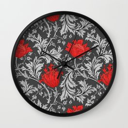 Art Nouveau Anemone, Gray / Grey and Red Wall Clock