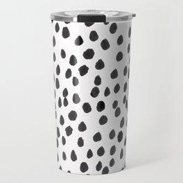 Hand painted monochrome dot pattern Travel Mug
