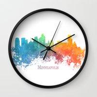minneapolis Wall Clocks featuring Skyline Minneapolis colored by jbjart