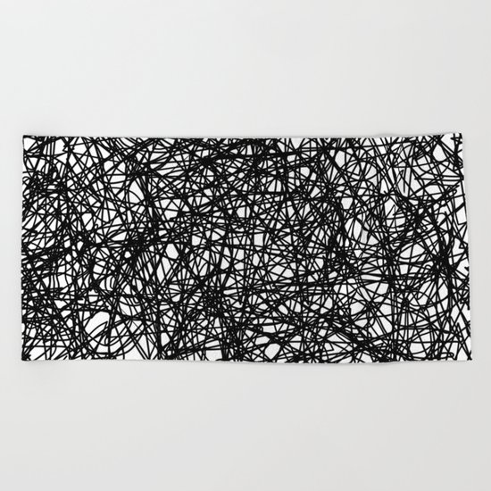 Angry Scribbles - Black and white, abstract, black ink scribbles pattern Beach Towel