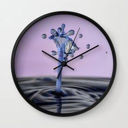 Blue water flower waterdrop Wall Clock