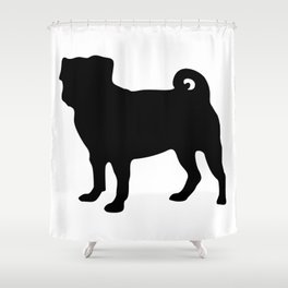 Simple Pug Silhouette Shower Curtain