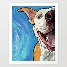 Smiling Pit Bull  Art Print