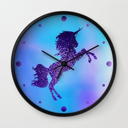 Purple Sparkly Unicorn Wall Clock