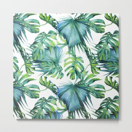 Blue Jungle Leaves, Monstera, Palm #society6 Metal Print
