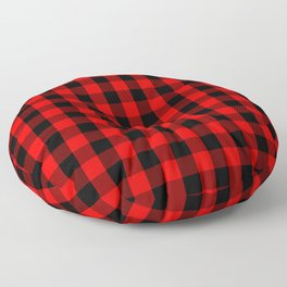 Classic Red and Black Buffalo Check Plaid Tartan Floor Pillow