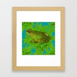 GREEN SWAMP FROG & GREEN FERNS Framed Art Print