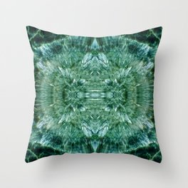 Abstract Kaleidoscope Green Mineral Crystal Texture Throw Pillow