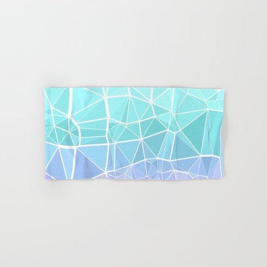 Cyan, Turquoise, and Purple Triangles Hand & Bath Towel