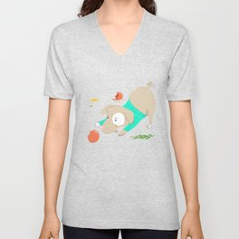 A Dog Playing With Christmas Ornaments Unisex V-Neck