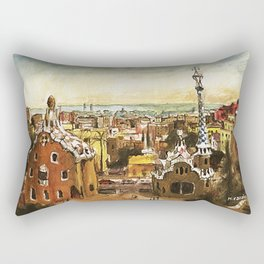 Park Güell prints. Antoni Gaudi Barcelona buildings Rectangular Pillow