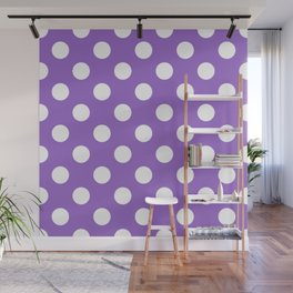 Amethyst - violet - White Polka Dots - Pois Pattern Wall Mural