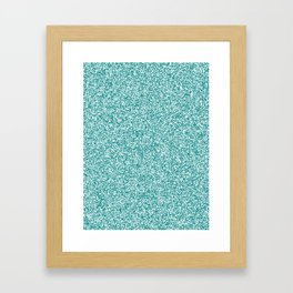Spacey Melange - White and Dark Cyan Framed Art Print