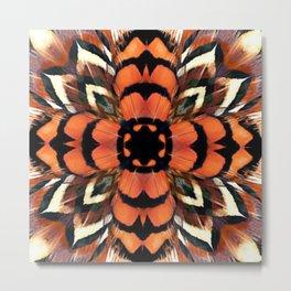 Pheasant Feather Kaleidoscope Metal Print