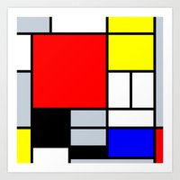 mondrian Art Prints featuring Mondrian by Dizzy Moments