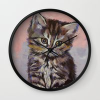 kitten Wall Clocks featuring Kitten by Michael Creese
