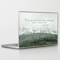 the mountains are calling Laptop & iPad Skins featuring The Mountains are Calling by Annie Bailey