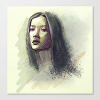 asian Canvas Prints featuring Asian girl by Ludovic Pinelli