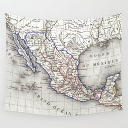 Vintage Map of Mexico (1852) Wall Tapestry