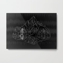Mountains Lines and Bear Metal Print