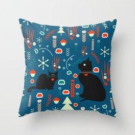 Black kitties in winter Throw Pillow