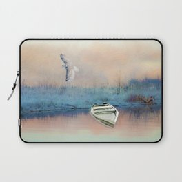 Snowy Owl and Winter Pond Laptop Sleeve