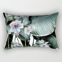 Banana leaf tropical paradise, leaves, hibiscus, Hawaii Rectangular Pillow