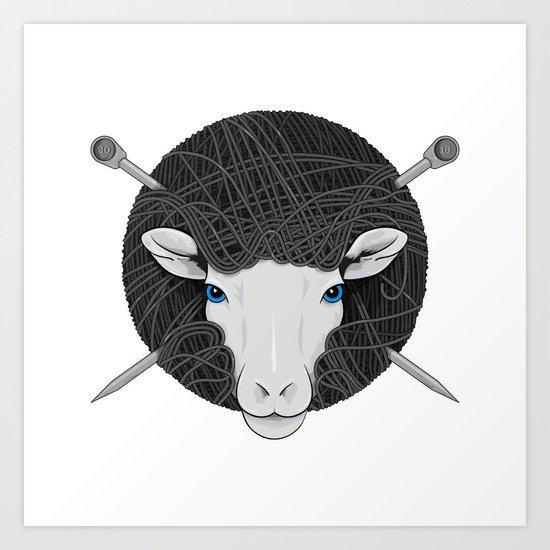 Woollen Head (Sheep & Cross Needles) Art Print