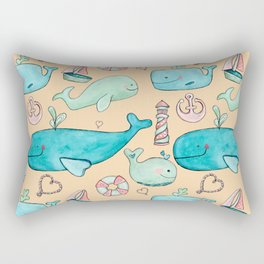 Nautical Whale Hearts Rectangular Pillow
