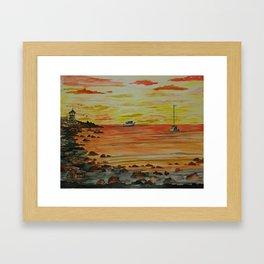 Sunset at Sandy Bay Gazebo on Rockport Front Beach Framed Art Print