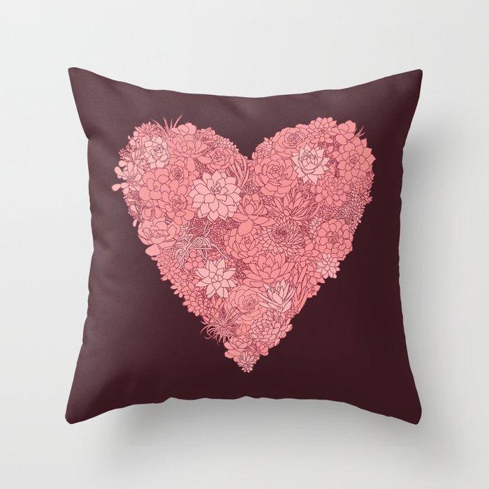 Pink Succulent Heart Throw Pillow
