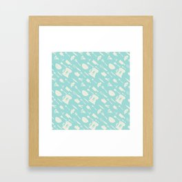 In The Kitchen — Turquoise Framed Art Print