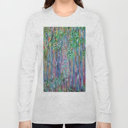Teal Blue Abstract Forest Landscape, Forest Secrets, Fantasy Fairy Art Long Sleeve T-shirt