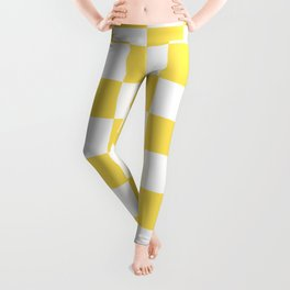 Yellow, Canary: Checkered Pattern Leggings