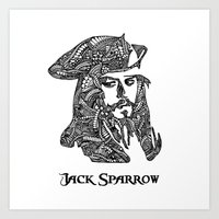 jack sparrow Art Prints featuring Captain Jack Sparrow by christoph_loves_drawing