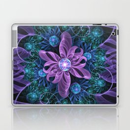 Bejeweled Butterfly Lily of Ultra-Violet Turquoise Laptop & iPad Skin