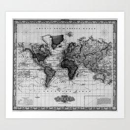 Vintage Map of The World (1833) White & Black Art Print