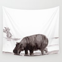 hippo Wall Tapestries featuring HIPPO  by Patricia de Cos