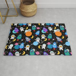 Space Cats Astronaut Kittens Rocket Ship Pattern Rug
