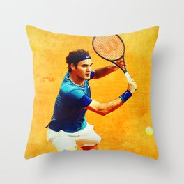 Roger Federer Tennis On Clay Throw Pillow
