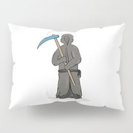 death reaper with dark robe and hood and scythe Pillow Sham