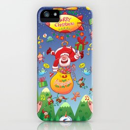 Santa has a Zeppelin to Deliver Christmas Gifts iPhone Case