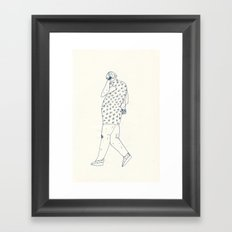 woman with phone Framed Art Print