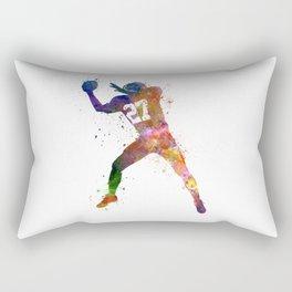 american football player man catching receiving silhouette Rectangular Pillow